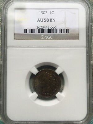 """1902 1C One """"Indian Head"""" Cent NGC Certified AU 58 BN"""