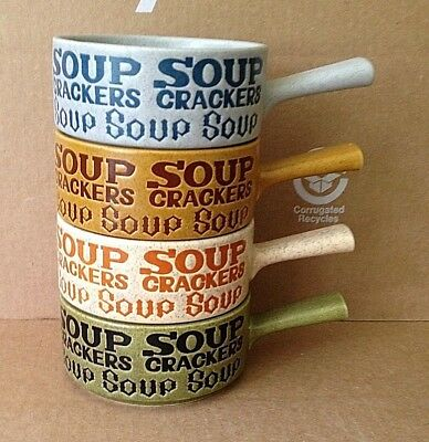 4 Vintage Speckled Chili Soup Crackers Bowls Coffee Mugs Stonewear Japan
