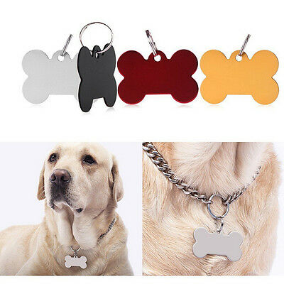 Bone Shape Engraved Pet Tags Dog/Cat Name Identity ID Disc Animal  JX
