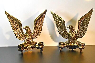 Pair of Vintage Brass Ameircan Eagle 2 Candle Wall Sconces Designer Brass