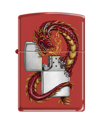 Zippo 3329, Fire Breathing Dragon With Zippo, Red Matte Finish Lighter