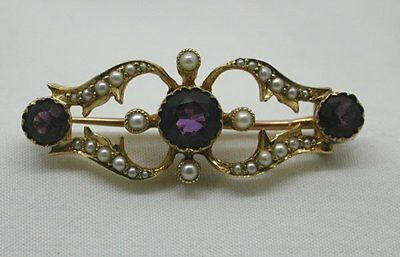 Beautiful Victorian 15ct Gold Amethyst And Pearl Brooch