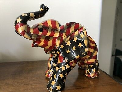 Red White And Blue Flag Patriotic Elephant With Raised Lucky Trunk