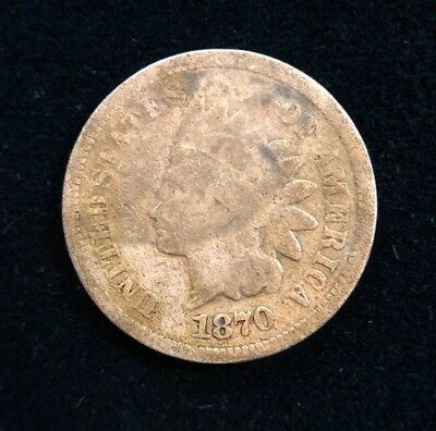 1870 1C Indian Head Cent Penny Early American Collectible Coin
