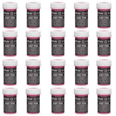 30 x Sugarflair BABY PINK Pastel Edible Food Colouring Paste for Cake Icing 25g