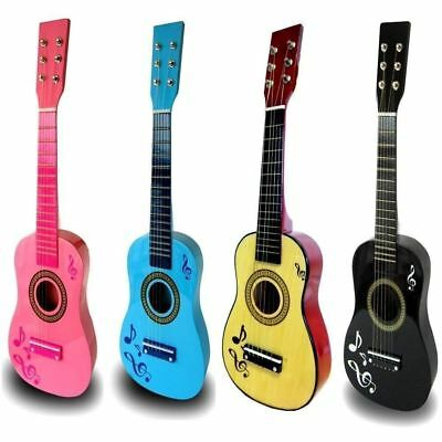 "Kids 23"" Pink Blue Wooden Acoustic Guitar Musical Instrument Girls Boys Toy Gift"