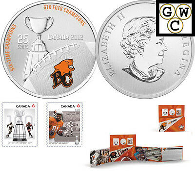 2012 'BC Lions' CFL Colorized 25-Cent Coin and Stamp Set (13048)
