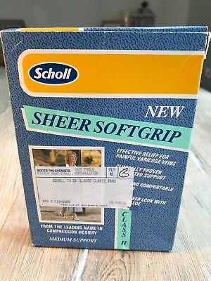 Scholl Sheer Softgrip Class II XL Support Thigh High Closed Toe Sand Varicose