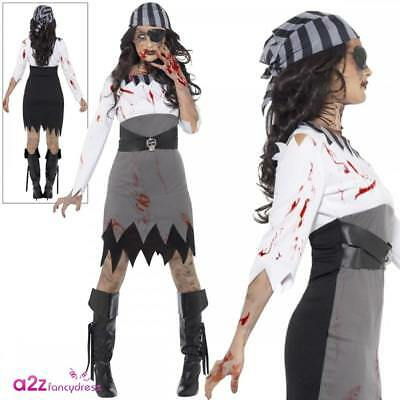 Ladies Zombie Pirate Lady Costume Halloween Buccaneer Womens Fancy Dress Outfit