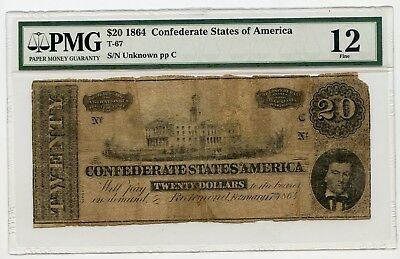 1864 $20 Confederate States Of America Note T-67 SN:Unknown pp C (F12) PMG