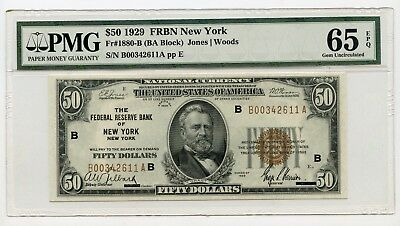 1929 $50 Federal Reserve Bank of New York Banknote  (Gem Uncirculated 65) PMG