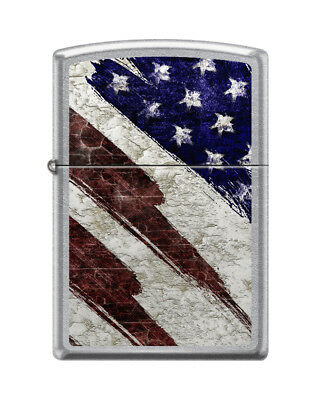 Zippo 6353, American Flag, Grunge, Street Chrome Finish Lighter