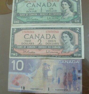 Canada, $1.00 1954, $2.00 1954 and $10.00 2001