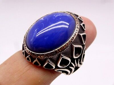 Turkish Handmade  925 Sterling Silver Sapphire Mens Ring Sz 10.00 us Free Resize