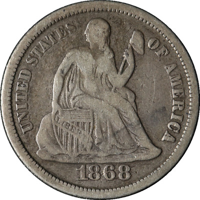 1868-P Seated Liberty Dime Great Deals From The TECC Bargain Bin