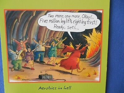 Vintage The Far Side Birthday Greeting Card Aerobics In Hell