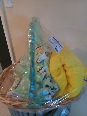 Brand new baby gift basket for girl or boy in neutral green and yellow colors