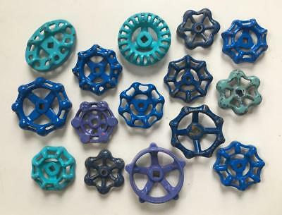 15 Blue Vintage Water Valve Handles Steampunk Industrial Art Colorful FREE Shipg
