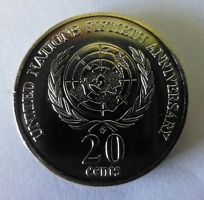 20c Coin UNC 1995 United Nations Fiftieth 50th Anniversary. From a mint roll.