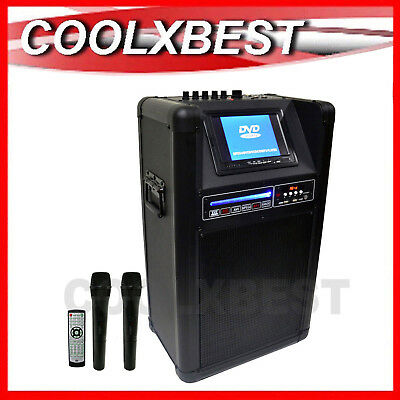 "HOLYSMOKE PORTABLE KARAOKE PARTY MACHINE with 2x WIRELESS MIC 7"" LCD SCREEN"