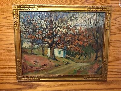 American Impressionist Home By The Road Hand Carved Frame