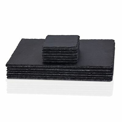 12 Piece Natural Slate Rectangle 6 Placemat And 6 Coasters Table Mat Drinks Set