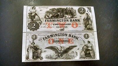 Scarce $1-$2  Uncut Sheet Of Obsoletes From Farmington Bank Nh Gem/cu