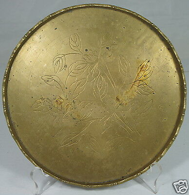 Vintage Brass Chinese Serving Round Tray Platter Flowers Etched