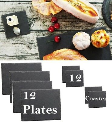 24 Piece Natural Slate Rectangle 12 Placemat & 12 Coasters Table Mat Drinks Set