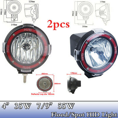 "2X 35W 55W 12V 4"" 7"" 9"" HID Work Light Fog 6000K Spot Flood For ATV Offroad Boat"