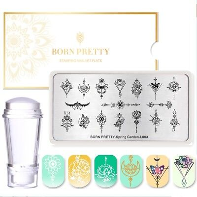 3Pcs Spring Nail Art Stamping Plates Jelly Clear Dual-ended Stamper Scraper Set