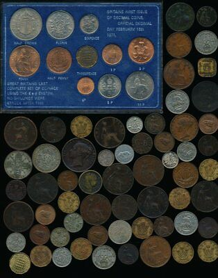 72 Old Uk & Ex-Colony Coins + A Few Tokens (Collectibles>Must See) No Reserve