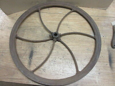 """large 26-1/2"""" antique cast iron industrial steampunk machine fly wheel lamp base"""