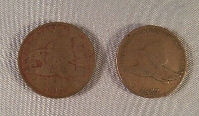 U.s. 1857 Flying Eagle One Cent - 2 Coins