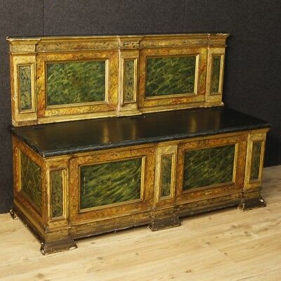 Chest Italian bench lacquered faux marble wood furniture living room antique 900