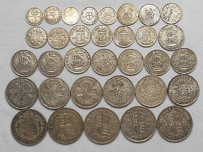Lot Of 33 Great Britain Silver Coins - 3 Pence To Half Crown