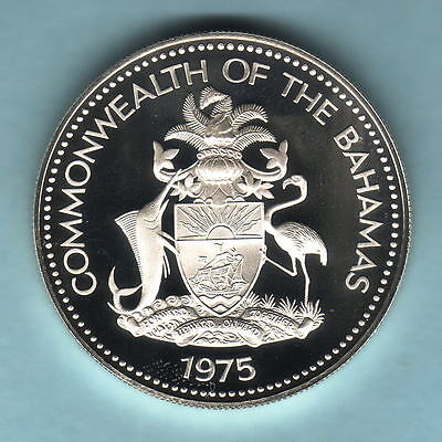 Bahamas. 1975 2 Dollars..  Silver Proof