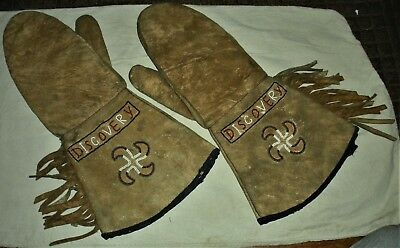"c.1850 PLAINS NATIVE AMERICAN INDIAN BEADED GLOVES ""DISCOVERY"" WHIRLING LOG vafo"