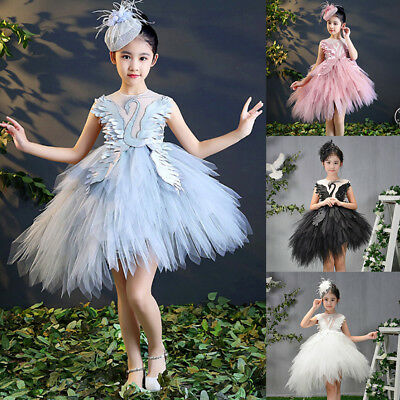 Kid Girls Tutu Ballet Dance Dress Swan Ballerina Fairy Party Dancewear Costume
