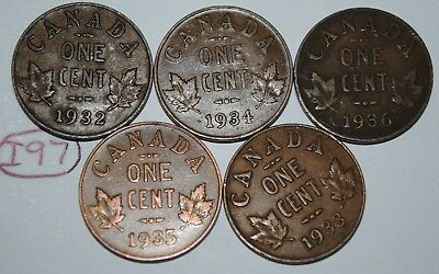 Canada 1932 1933 1934 1935 1936 George V 1 Cent Canadian Copper Coins Lot #I97