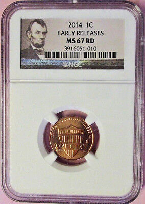 2014 Ngc Ms 67 Rd Lincoln Shield Cent! Portrait Label!