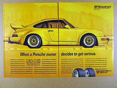 1995 Porsche 911 Turbo race car photo BF Goodrich Tires vintage print Ad