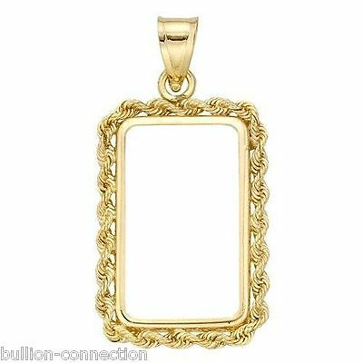 Brand New Solid 14Kt Gold Rope Bezel~Bale For 1 Gram Pamp Suisse ` Credit Suisse