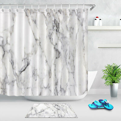 Grey White Marble Texture Shower Curtain Set Bathroom Mat Polyester Fabric Hooks