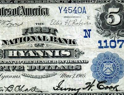 HGR CH#1107 1902 $5 HYANNIS, MA Date Back ((Previously UNKNOWN)) VF+ GRADE
