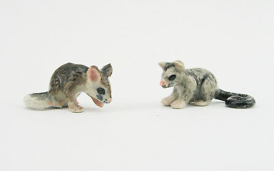 """Australian Ring Tail Possums Miniature 1/124"""" Porcelain & Hand Painted Set of 2"""