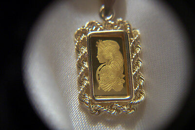 New 999.9 Solid Gold 1 Gram Pamp Suisse Fortuna Bar In 14 Kt Solid Gold Bezel