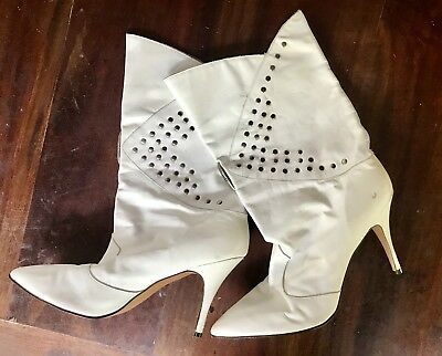 80s Leather white Stud Boots size 9.5