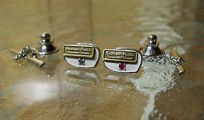 (2) Southern Pacific SP Railroad Years Service Lapel Pin Button Badge