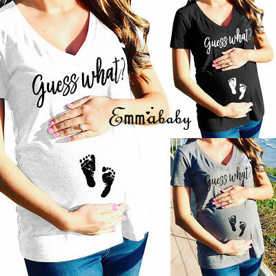 Ladies Maternity Short Sleeve Letter Printed T-Shirt Funny Pregnant Tops Blouse